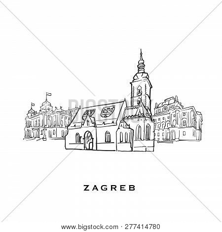 Zagreb Croatia Famous Architecture. Outlined Vector Sketch Separated On White Background. Architectu