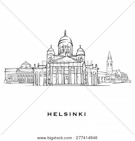 Helsinki Finland Famous Architecture. Outlined Vector Sketch Separated On White Background. Architec