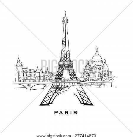 Paris France Famous Architecture. Outlined Vector Sketch Separated On White Background. Architecture