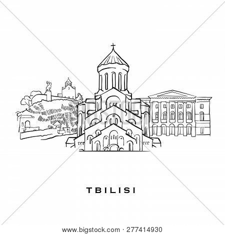 Tbilisi Georgia Famous Architecture. Outlined Vector Sketch Separated On White Background. Architect
