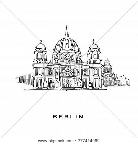 Berlin Germany Famous Architecture. Outlined Vector Sketch Separated On White Background. Architectu