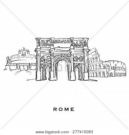 Rome Italy Famous Architecture. Outlined Vector Sketch Separated On White Background. Architecture D