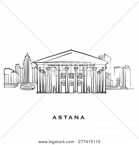 Astana Kazakhstan Famous Architecture. Outlined Vector Sketch Separated On White Background. Archite