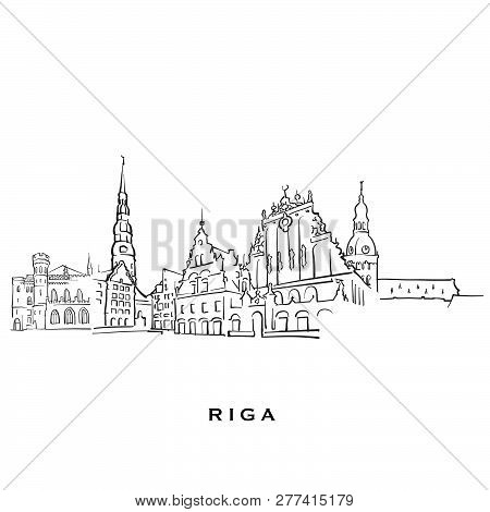 Riga Latvia Famous Architecture. Outlined Vector Sketch Separated On White Background. Architecture