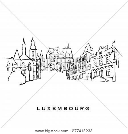 Luxembourg Famous Architecture. Outlined Vector Sketch Separated On White Background. Architecture D