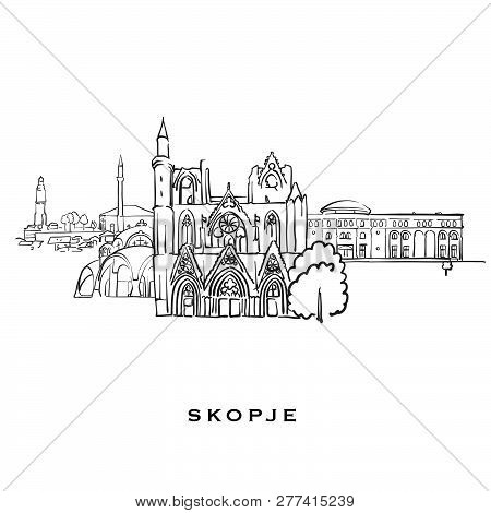 Skopje Macedonia Famous Architecture. Outlined Vector Sketch Separated On White Background. Architec