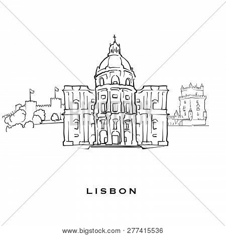 Lisbon Portugal Famous Architecture. Outlined Vector Sketch Separated On White Background. Architect
