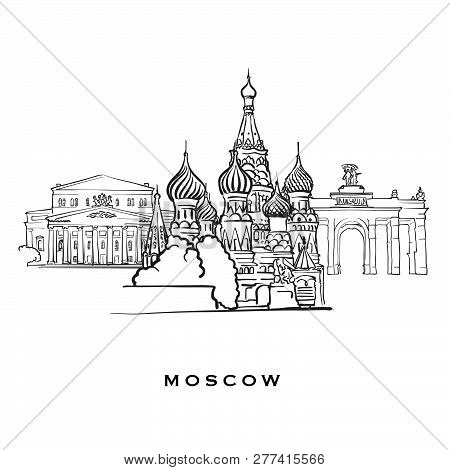 Moscow Russia Famous Architecture. Outlined Vector Sketch Separated On White Background. Architectur