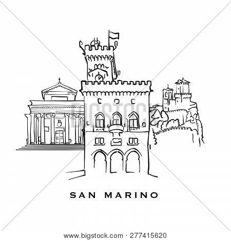 San Marino Famous Architecture. Outlined Vector Sketch Separated On White Background. Architecture D