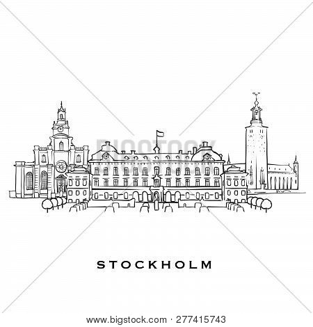 Stockholm Sweden Famous Architecture. Outlined Vector Sketch Separated On White Background. Architec