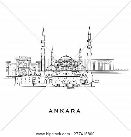 Ankara Turkey Famous Architecture. Outlined Vector Sketch Separated On White Background. Architectur