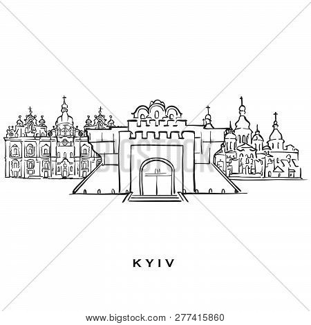 Kyiv Ukraine Famous Architecture. Outlined Vector Sketch Separated On White Background. Architecture