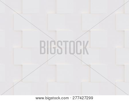 3D pattern made of white and beige geometric shapes, creative background or wallpaper surface made of light and shadow. Futuristic decorative abstract texture design, simple graphic elements