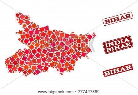 Geographic Combination Of Dot Mosaic Map Of Bihar State And Red Rectangle Grunge Seal Watermarks. Ve