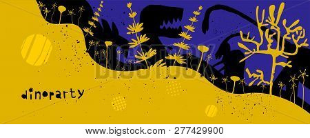 Hand Drawn Dinosaurs And Relict Plants With Lettering. Jurassic Reptiles Flat Character. Fantasy Din