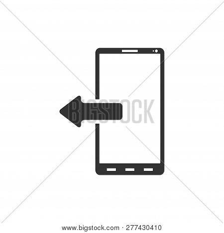 Outcoming Calls. Black Icon Flat On White Background