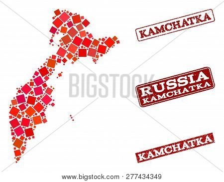 Geographic Collage Of Dot Mosaic Map Of Kamchatka Peninsula And Red Rectangle Grunge Seal Stamp Wate