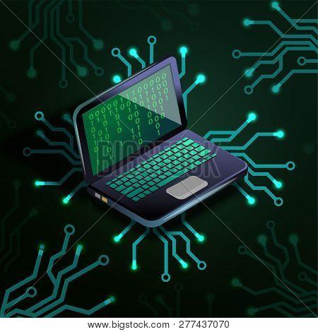Laptop Binary Code Circuit Board Vector Illustration