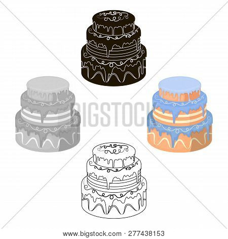 Blue Three-ply Cake Icon In Cartoon Style Isolated On White Background. Cakes Symbol Stock Vector Il