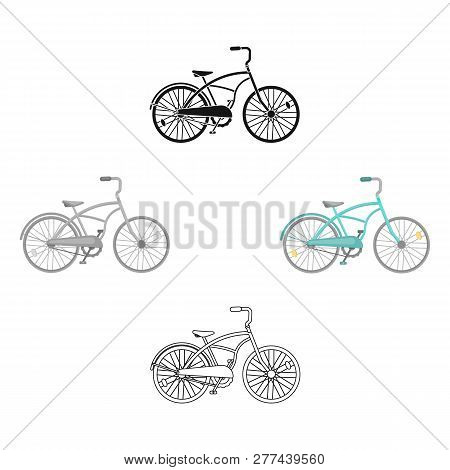 Blue Two-wheeled Bicycle For A Ride Through The City. Pleasure Of Transport.different Bicycle Single