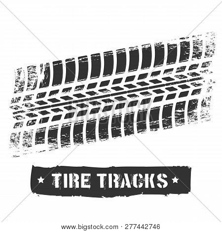 Tire Track Print. Car Or Motorcycle Tread Design, Dirty Road Rubber Motocross Bike Printed Texture,