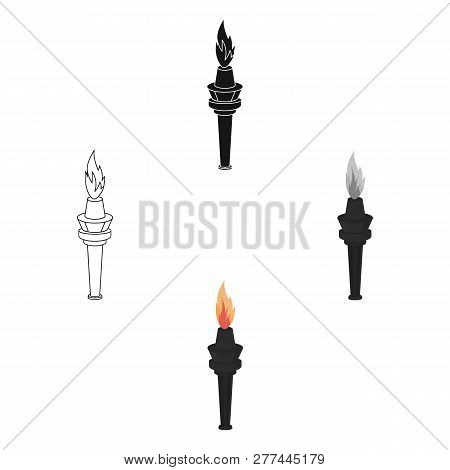 Street Lamp In The Form Of A Torch With An Open Fire.lamppost Single Icon In Cartoon Style Vector Sy