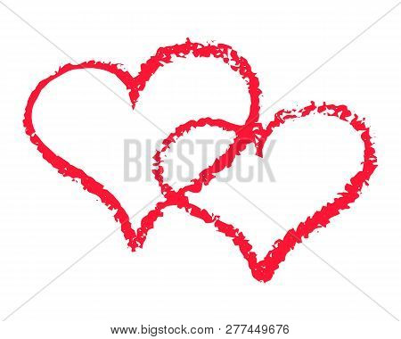 Two Red Hearts Outline Vector Illustration On White Background. St Valentine Day Clipart. Chalk Text