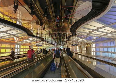 Underground Passage In The Chicago O Hare Airport. Mobility, Color...