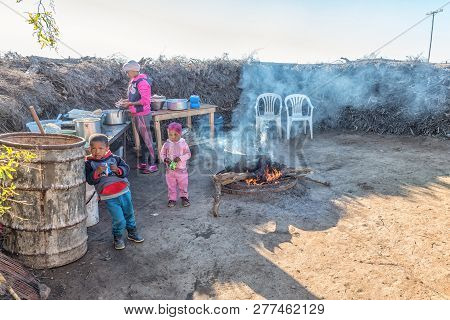 Nieuwoudtsville, South Africa, August 29, 2018: An Outdoor Kitchen At Matjiesfontein Farm Near Nieuw