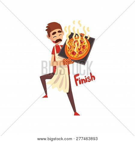 Chef Holding A Tray With Freshly Cooked Hot Pizza, Pizza Maker Character, Stage Of Preparing Italian
