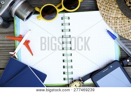 Travel Accessories, Tickets,  Vacation, Concept Travel Background