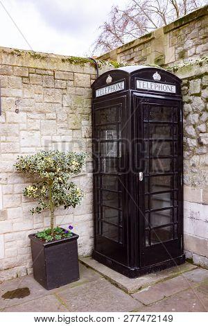Black British Phonebox London In Uk, England.