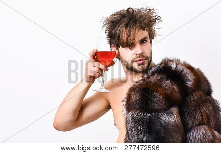 Rich Athlete Enjoy His Life. Guy Attractive Rich Posing Fur Coat On Naked Body. Sexy Sleepy Rich Mac