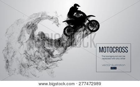 Abstract Silhouette Of A Motocross Rider On White Background From Particles, Dust, Smoke, Steam. Mot