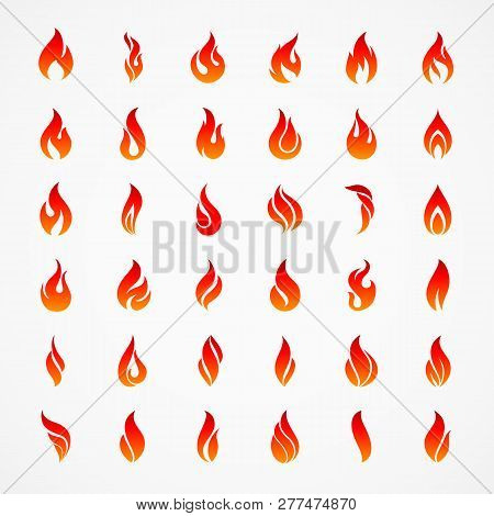 Fire Flames Silhouettes. Different Fire Icons In Flat Style For Design Template