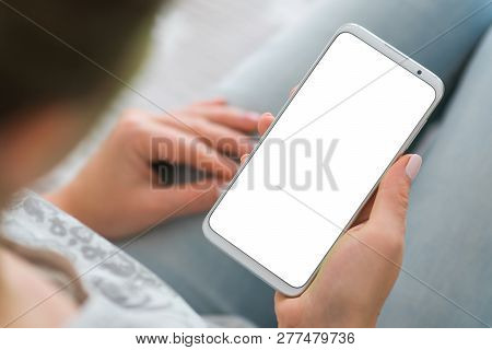 Mockup Image Of Smart Phone. Close Up. Phone White Screen Woman Hands Smartphone. Holding Mobile.