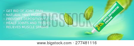 Banner Anti Arthritis Cream Natural Mint Extract. Vector Image Concept Get Rid Of Joint Pain, Natura