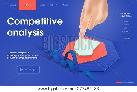 Competitive Analysis Online Service Isometric Vector Web Banner Or Landing Page Template. Developing