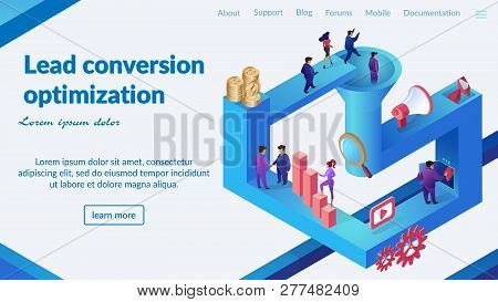 Conversion Optimization Strategy Development Isometric Vector Web Banner Or Landing Page. Clients Be