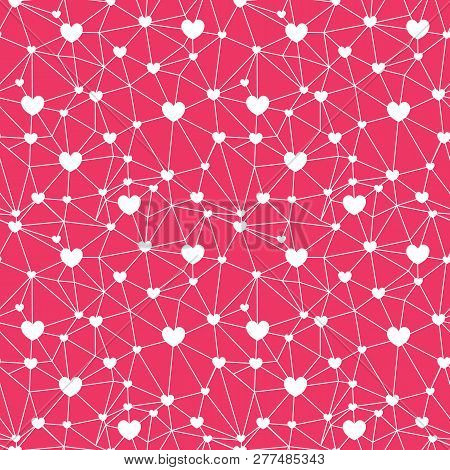 Red Web Of Hearts Seamless Repeat Pattern. Great For Valentines Day Or Wedding Invitations, Cards, B