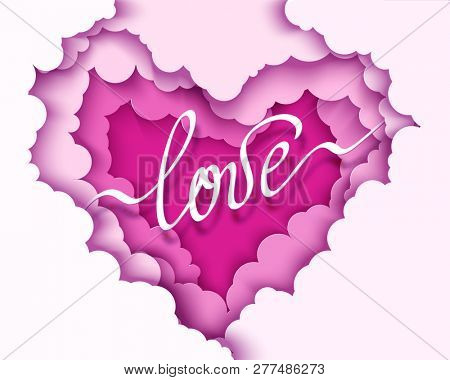 Paper design with clouds in heart shape. Paper art craft style. 3d Valentine s day illustration.