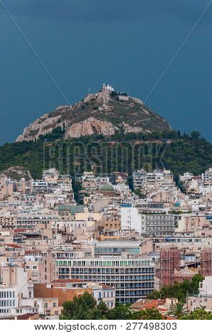 Athens, Greece - June 12, 2013: Stormy Cityscape View On Mount Lycabettus Also Known As Lycabettos,