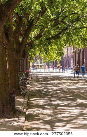 Szeged, Hungary - June 18, 2013: Cozy Downtown Street Of Szeged, Covered With Big Crown Of A Trees,