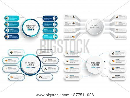 Set Vector Infographic Template With 3d Paper Label, Integrated Circles. Business Concept Set With 8