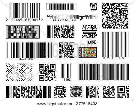 Graphic Collection Of Different Types Of Bar And Qr Codes Isolated On White Background