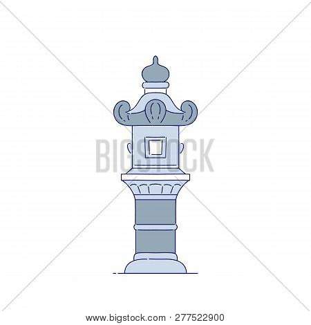 Vector Chinese Stone Streetlight Architectural Landmark. Oriental Architecture Line Art Traditional