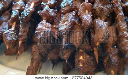 Plate Of Filipino Meat On A Stick Kebabs