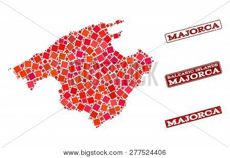 Geographic Collage Of Dot Mosaic Map Of Majorca And Red Rectangle Grunge Seal Stamp Imprints. Vector