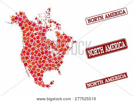 Geographic Collage Of Dot Mosaic Map Of North America And Red Rectangle Grunge Stamp Watermarks. Vec