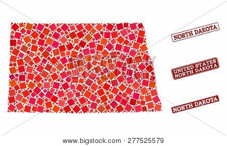 Geographic Combination Of Dot Mosaic Map Of North Dakota State And Red Rectangle Grunge Stamp Imprin